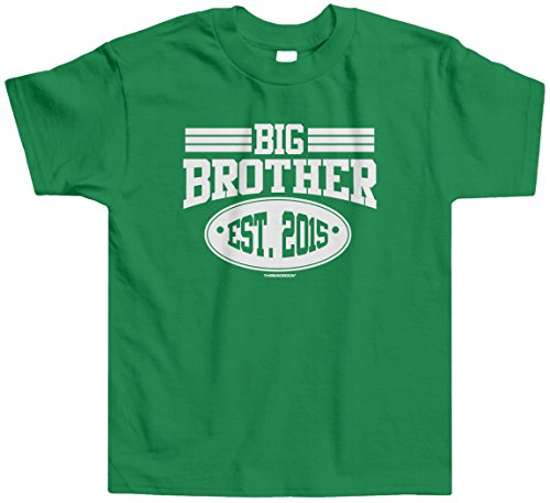 Threadrock Little Boys' Big Brother 2015 Toddler T-Shirt 3T Kelly Green