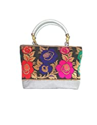 Bhamini Raw Silk Handbag With Floral Border (Silver) - B018LZHKAS