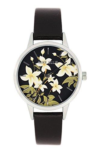 Mike Ellis New York Mujer-reloj analógico de cuarzo cuero de flor SL4310A8