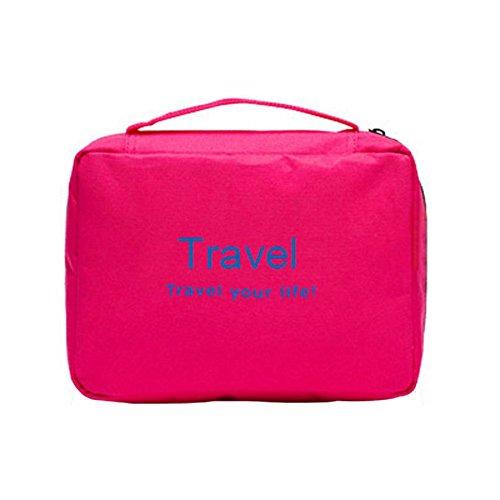 Tumecos impermeabile, da appendere, borsa da viaggio da barba di colore azzurro-Trousse da toilette Rosa rosa