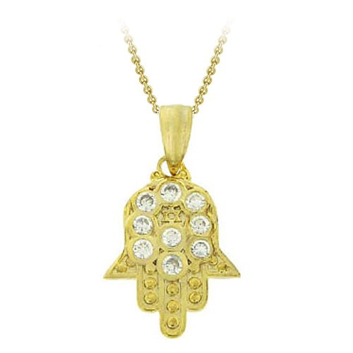 18k Yellow Gold Plated Sterling Silver and Cubic Zirconia Small Hamsa Pendant Necklace, 18