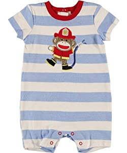 Baby Boy's Blue & White Striped S/S Fireman Sock Monkey Romper