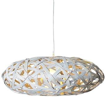 Naeve Leuchten 7011723 Lustre suspension en bois Blanc 30 x 85 cm