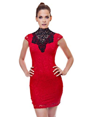 B-Style-Fashion -  Vestito  - Sera  - Senza maniche  - Donna rosso 42