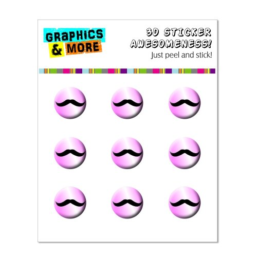 Graphics and More Mustache Funny Pink Home Button Stickers Fits Apple iPhone 4/4S/5/5C/5S, iPad, iPod Touch - Non-Retail Packaging - Clear