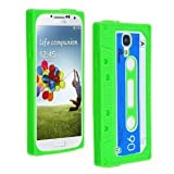 EFuture(TM) Green Retro Stylish Cassette Tape Silicone Soft Skin Gel Case Cover for Samsung Galaxy SIV/S4 i9500 +eFuture's nice Keyring