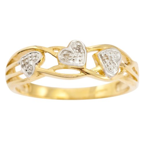 9ct Yellow Gold Ladies' Celtic Style Diamond Set Leaf and Interlacing Stem Ring Size N