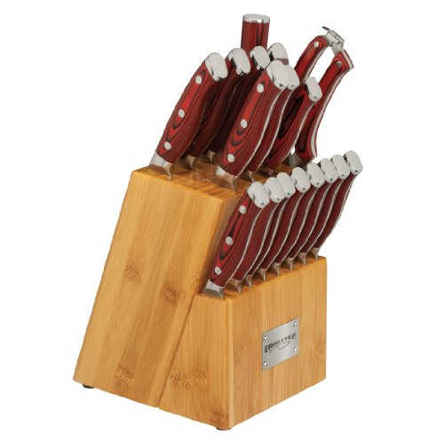 18 Piece Cutlery Set with Bamboo Block knife set G10 Handles CRIMSON Series by Ergo Chef