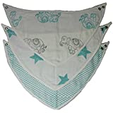 Kidzline Bibs For Baby Blue Elephant Star Chevron - Size 40x20 CM - Multicolor - Pack Of 3