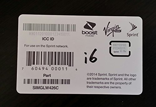SIMGLW436C Sprint Boost Virgin Ting RingPlus Nano SIM ICCID for iPhone 6 and 6 Plus ONLY (Postpaid) (Virgin Mobile Nano Sim Card compare prices)