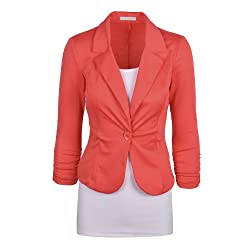 Auliné Collection Women's Casual Work Solid Candy Color Blazer
