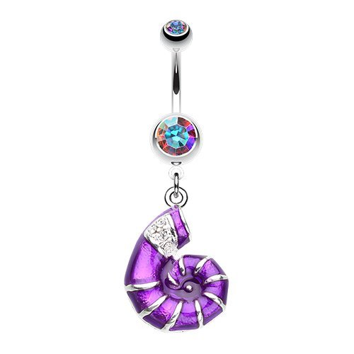 Vibrant Nautilus Seashell 316L Surgical Steel Belly Button Ring (Aurora Borealis/Purple)