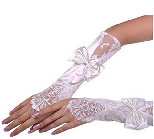 Women's Lace Wedding Dress Glove Fingerless Satin Gloves for Bride Evening Party (Bow White)