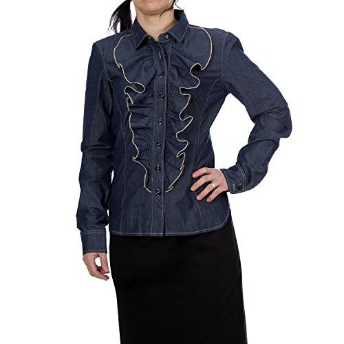 Only a maniche lunghe laukaa, camicia da donna Cleo Shirt Denim Blue con balze riporto Denim Blu 44