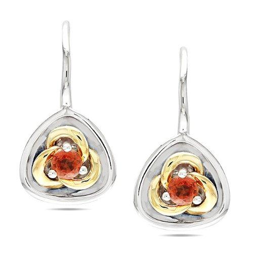 Sterling Silver 1/2 CT TGW Orange Sapphire Stud Earrings