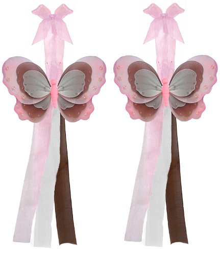 Butterfly Tiebacks Pink Brown & White Triple Layered Nylon Butterflies Tieback Pair / Set Decorations. Window Curtains Holder Drapery Holders Tie Backs To Decorate A Baby Nursery Bedroom, Girls Room Wall Decor, Wedding Birthday Party, Bridal Baby Shower, front-964539