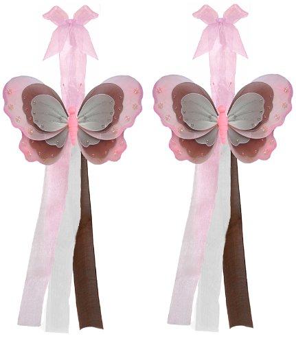 Pink Brown White Triple Layered Butterfly Curtain Tieback Pair / Set - tiebacks holder sheer tie backs, nylon nursery bedroom girls room ceiling wall decor, wedding birthday party baby bridal shower