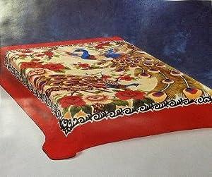 Huis Solaron blanket original Korean licensed throw thick plush queen size Peacock