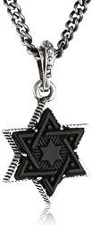 "King Baby ""Star of David"" Men's Large Jet Silver Frame Pendant Necklace, 24"""
