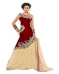 Maruti Suit Women's Velvet & Net Suit Material (15003, Maroon, Free Size)