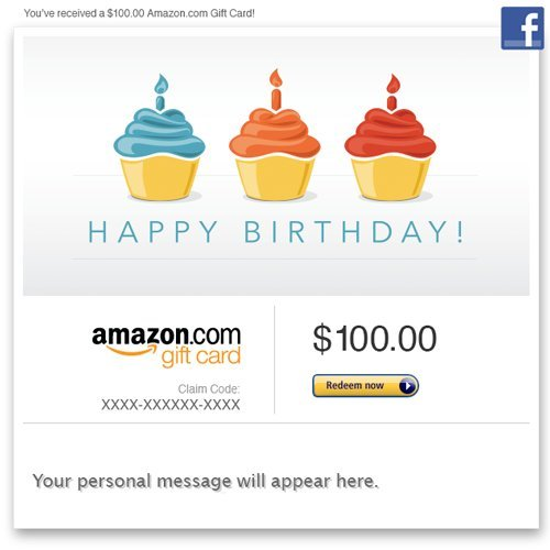 Birthday gift cards best sellers amazon gift card facebook amazon gift card facebook happy birthday cupcakes negle Images