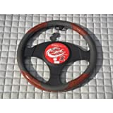 Nissan Pixo / Note / X-Trail Car Steering Wheel Cover SWP4 Grey leatherette with Walnut trim 14.5 inch medium