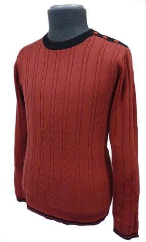 Beckett Madcap Retro Mod Mens Cable Knit Jumper M-44-Red