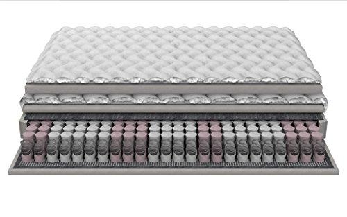 Boxspring Matelas gras avec Topper Ressorts ensachés haute résilience mousse polyuréthane 22 cm 3 couches matelassée Frotta couvrir 160x200 cm