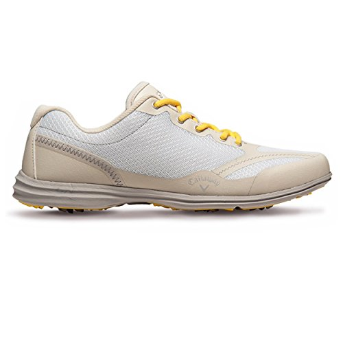 Callaway Footwear Women's Solaire Golf Shoe, White/Bone, 7 M US
