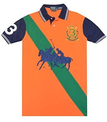 Polo Ralph Lauren Men Custom Fit Dual Match Fashion Logo T-shirt (S, Orange/green/navy)