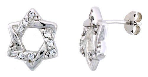 Sterling Silver Jeweled Star-of-David Post Earrings, w/ Cubic Zirconia stones, 1/2 inch (14 mm)