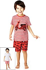 2 Pack Pure Cotton Scooter & Striped Short Pyjamas
