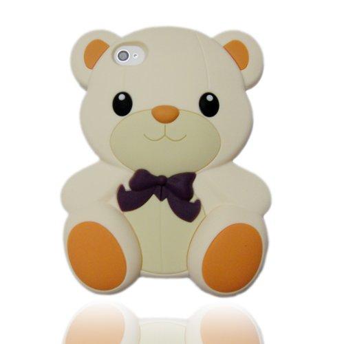 3D White Teddy Bear Hybrid case cover for Apple