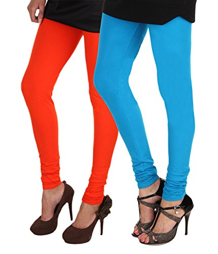 ITNOL Cotton Lycra Leggings (Pack Of 2): Orange / Blue