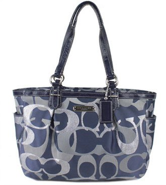 Coach Optic Signature Gallery Metallic Tote Bag