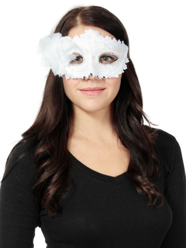 White Lace Women'S Charm Lace Rhinestone Party Masquerade Masks With Flower
