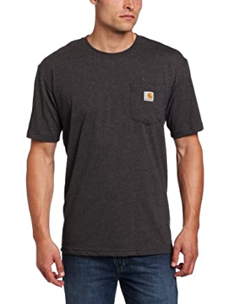 Carhartt Men's Contractors Work Pocket Short Sleeve Tee Shirt Relaxed Fit, Carbon Heather, Small