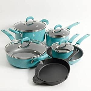 Pioneer Woman Non-stick Pre-seasoned Cookware Set Speckle 10-piece