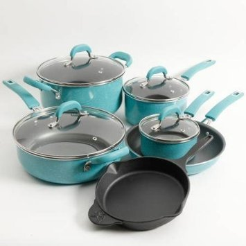 The Pioneer Woman Vintage Speckle 10-Piece Non-Stick Pre-Seasoned Cookware Set, Turquoise Dishwasher Safe