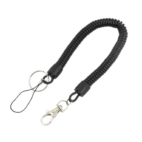 Key Safety Black Plastic Flexible Spring Coil Metal Ring Keychain - 1