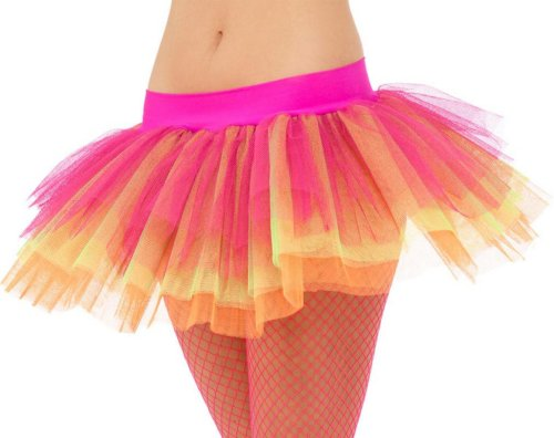 Women's Layered Pink 1980s Neon Tutu Skirt. One size with elastic waist. Buy only if you're comfortable with a very short length.