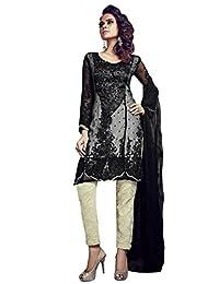Desi Look Women's Black Georgette Unstitched Salwar Suit With Dupatta