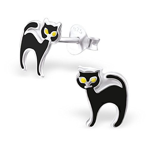 Black Cat Childrens Sterling Silver Enamel Earrings