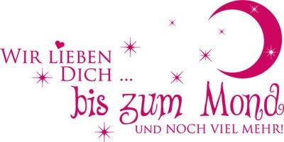 Wandtattoo Spruch Deko für Kinderzimmer Wir lieben Dich bis zum Mond (80x40cm//041 pink)
