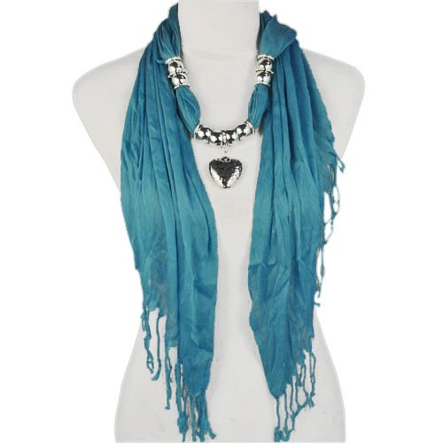 Fashion Triangle Style with Heart Bead Sky-clearing Blue Jewelry Scarves , Nl-1802b
