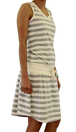 Euro Design Ladies Casual Cotton Summer Beach Cover-up Sun Dress (Large, Grey)