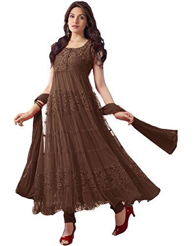 DivyaEmporio Women's Faux Georgette Salwar Suit Dress Material (DE-Anarkali Brown)