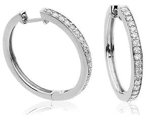 0.50CT Certified G/VS2 Round Brilliant Cut Channel Set Diamond Hoop Earrings in 18K White Gold