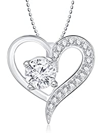 MEENAZ SOLITAIRE PENDANT SILVER PLATED DESIGNER WITH CHAIN FOR MEN AND WOMEN PS 235