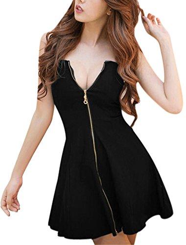 Allegra K Women Strapless Exposed Zipper Front A-Line Dress XL Black